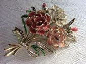 Carnations Brooch - Birthday Pin for October 1960s vintage brooch signed Exquisite